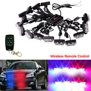 Wireless Led Red Blue Car Truck Strobe Emergency Warning Strobe Light Dash Grill