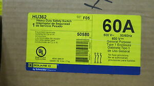 Square D Hu362 60 Amp 600 Volt Nema 1 Disconnect F Series new
