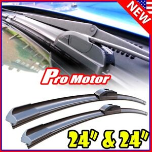 24 24 Oem Quality Bracketless Windshield Wiper Blades J hook Pair All Season