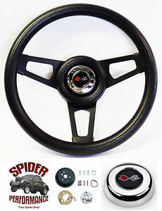 1968 1972 Corvette Steering Wheel Crossed Flags 13 3 4 Black Spoke