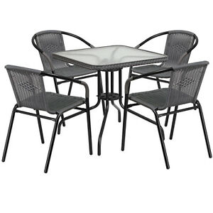 28 Sqaure Indoor outdoor Restaurant Table Set With 4 Gray Rattan Chairs
