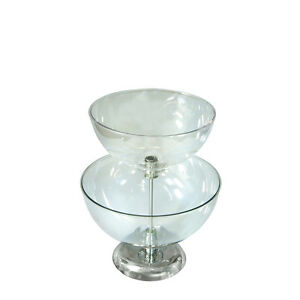 New Retails Clear Two tier Bowl Counter Display 12 14 Diameter