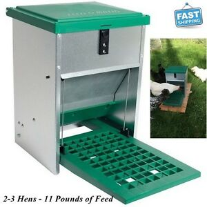 New Automatic Treadle Feeder Chickens Ducks Poultry Food Bucket With Lid 11 Lb