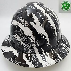 New Custom Pyramex full Brim Hard Hat W ratchet Suspension White Urban Camo