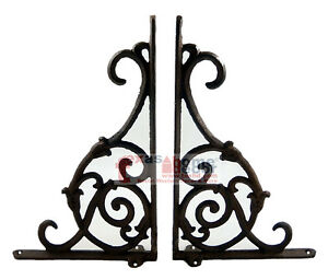 2 Ornate Rustic Cast Iron Brackets Braces With Scrolls Doorway Accent 9 25 X 6