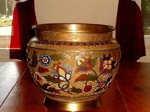 Large Antique Japanese Bronze Champleve Enamel Jardeniere Signed