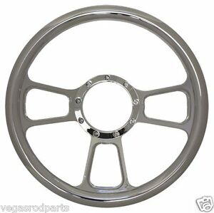 14 Chrome Aluminum Steering Wheel Chromed T Style Gm Chevy Custom Full Billet