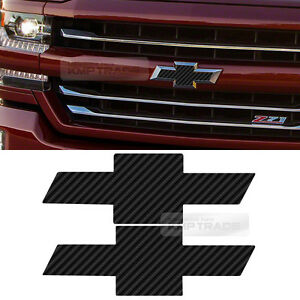 Front Rear Black Carbon Emblem Badge Decal Sticker For Chevy 2014 2018 Silverado