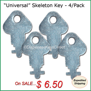 Skeleton Dispenser Key For Paper Towel Toilet Tissue Dispensers 4 pk