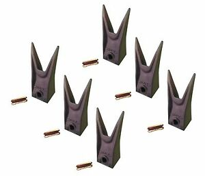 6 Bobcat Stye Mini Excavator Skid Bucket Teeth W Pins 7107321 6737325wt