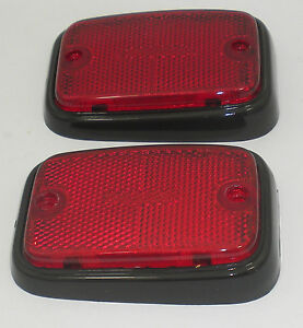 Side Marker Lens Rear Red With Black Trim Fits Volkswagen Type 2 Bus 1970 1976