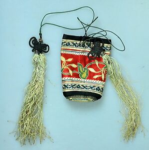 Antique Chinese China Qing Silk Embroidery Badge Rank Scent Pouch Purse 1900
