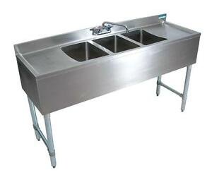 Bk 3 bowl Bar Sink With Drainboards 72 Wide 18 Depth