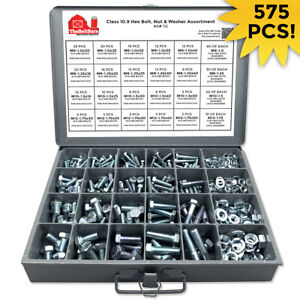 Grade 10 9 Metric Hex Cap Screws Hex Bolts Nut Washer Assortment Kit 575 Pcs