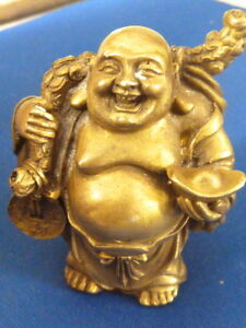 A Fine Chinese Or Japanese Scholars Bronze Scroll Weight Brush Rest Buddha Hotei