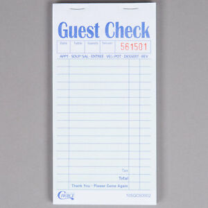 50 books 2 Part Green And White Carbon Guest Order Pad Checks 2500 Tickets