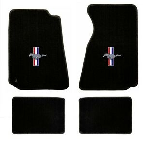 New 1994 2004 Ford Mustang Black Floor Mats With Logo Set Of 4 Carpet Rwb Logo
