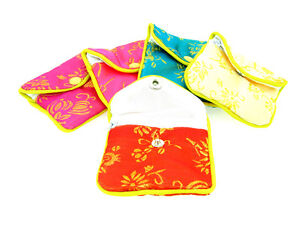 Silk Jewelry Chinese Pouch Bag Assorted Colors W zipper 3 1 2 X 3 12pcs pk