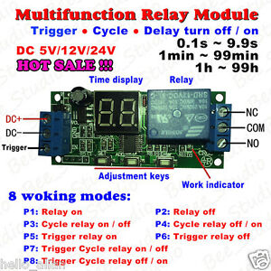 Led Display Cycle Delay Timing Timer Relay Switch Turn On off Module 5v 12v 24v