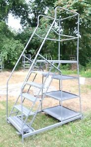 6 Step Rolling Ladder W work Platform Package Trays Stockpicker Free Shipping