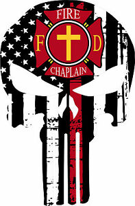 Thin Red Line Decal Firefighter Fire Chaplain Punisher Decal Various Sizes