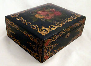 Mid 19th C Hand Painted Document Or Jewelry Box