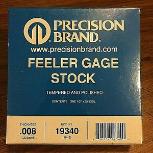 Precision Brand 0 008 Steel Feeler Gage 1 2 X 25 Coil 19340