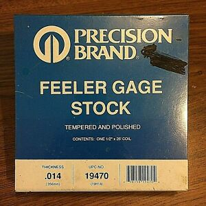 Precision Brand 0 014 Steel Feeler Gage 1 2 X 25 Coil 19470
