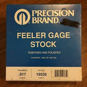 Precision Brand 0 017 Steel Feeler Gage 1 2 X 25 Coil 19535