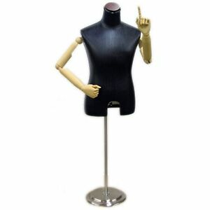 Mn 204 Black Leatherette Male Dress Form With Flexible Arms And Finger Joints