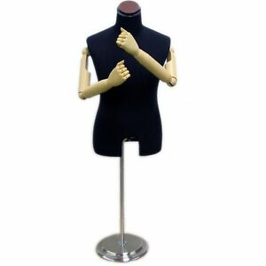 Mn 204 Black Velvet Male Dress Form With Flexible Arms And Finger Joints