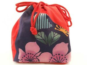 Vintage Japanese Kinchaku Draw String Bag In Floral Print Cotton Fabric Xl
