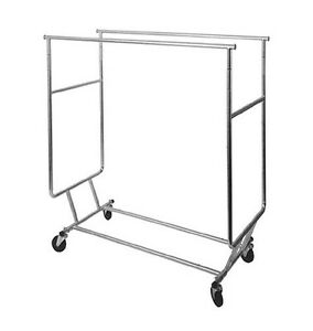 Af rswf dbl Collapsible Double Round Tubing Garment Salesman Rolling Rack