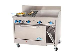 Comstock castle 48 2 burner Gas Range With 24 Griddle 12 Charbroiler New