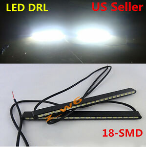 2x Super Bright Cool White 5630 18 Smd Car Cob Led Lights Drl Fog Driving Lamps
