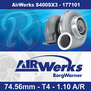 Borg Warner Airwerks S400sx3 Turbo 74 56mm T4 Twin Scroll 1 10 A R 500 1050hp