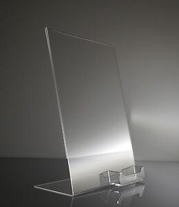 50 Clear 8 5x11 Display Sign Holder W Business Card Holder Wholesale Lot