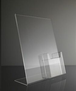 10 Clear Acrylic 8 5x11 Sign Holder Display With Tri Fold Brochure Holder