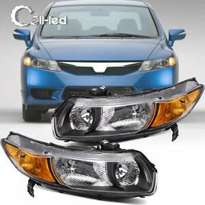 Chrome Headlights Assembly Front Headlamp For 2006 2011 Honda Civic 2 Door Coupe