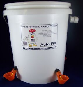 5 Gal Automatic Chicken Poultry Waterer 4 Drinker Cups Hose Connection