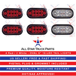 2 White 4 Red 6 Oval 10 Led Stop Turn Tail Backup Lights Truck Trailer