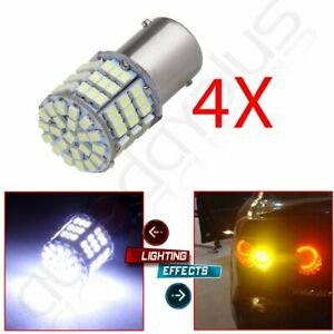 4x White 1156 Ba15s 7506 Super Bright 85 Smd Epistar Led Turn Signal Light Bulb