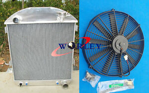 3 Row For Ford Model T Bucket Chevy Engine 1924 1927 Aluminum Radiator Fan