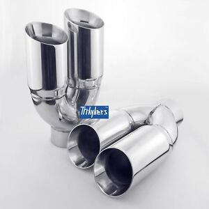 Quad Dual 3 5 Twin Out Single 3 In Exhaust Tip For Bmw E39 540i M5 E36 M3