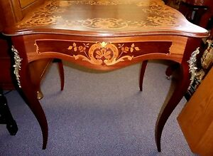 Antique Marquetry Table Ormolu Topped Cabriole Legs Edges W Beaded Metal 1920