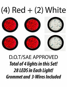 4 Inch Red 28 Led Round Stop Turn Tail Backup Truck Light Kit 4 Red