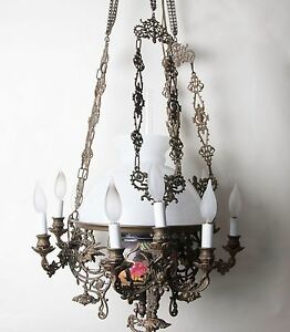 Antique 1800 S Converted Chandelier From Oil To Electric