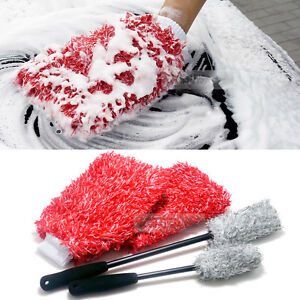 New Micro Fiber Washer Car Care Wash Mitt Gloves Cleaning Sponge Block Mop 4pack