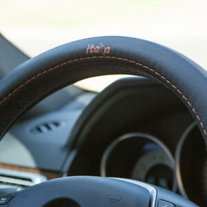 Black Orange Real Leather Steering Wheel Cover Iteza It58013 Toyota Honda Lexus