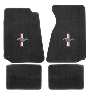 New 1994 2004 Ford Mustang Grey Floor Mats With Logo Set Of 4 Carpet Rwb Logo